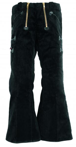 FHB GUSTAV Zunfthose Trenkercord Dreidraht mit Echtleder, 72 cm Schlag, schwarz